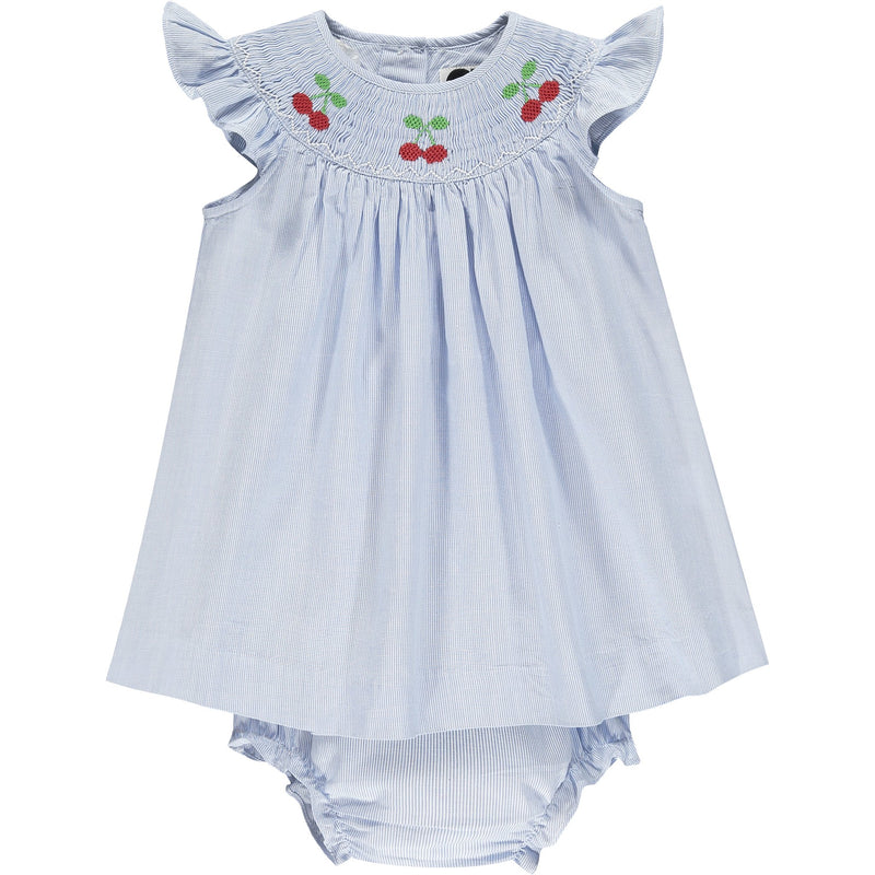 cherry embroidered baby dress