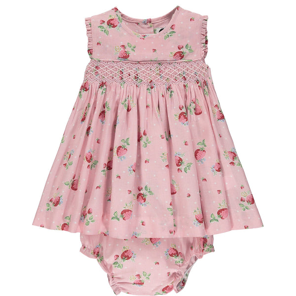 strawberry print hand-smocked dress