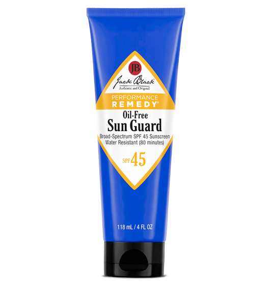 Description Of Jack Black Oil-Free Sun Guard SPF 45 Sunscreen:  This oil-free, vitamin-enriched, water and sweat-resistant lotion offers superior broad-spectrum UVA/UVB protection and absorbs quickly without greasy or heavy residue. Formulated for extreme conditions, Sun Guard forms a barrier of protection and stays on during intense physical activity in and out of the water. Won