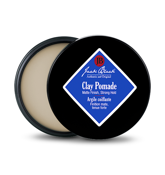 Description Of Jack Black Clay Pomade:  This pomade offers buildable control and strong, natural-looking hold with a matte finish. Ideal for adding texture, definition, or to sculpt hair into place. Fragrance free, rinses clean.