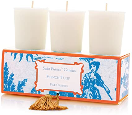 Seda France - French Tulip Classic Toile Votive Candles Set Of Three