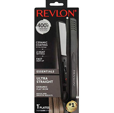 "Revlon Essentials Ultra Straight Ceramic Flat Iron 1"" Plates"