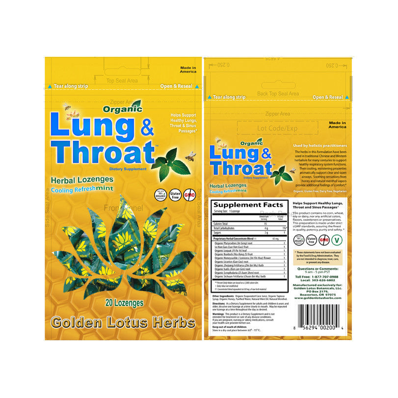 Golden Lotus Herbs Organic Lung & Throat Herbal Lozenges in Cooling Refreshmint, Pharmacy - New London Pharmacy