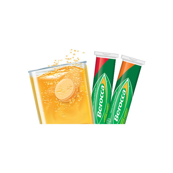 Berocca Mental Sharpness + Physical Energy Portable Tube Pack Effervescent Tablets