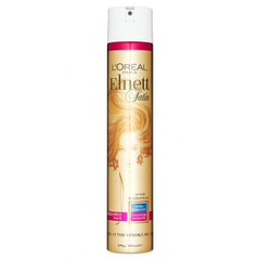 L'Oréal Paris Elnett Satin Coloured Hair Extra Strength Hold Hairspray  Our finest hairspray used by the finest stylists    Enriched with UV filter and adapted to the needs of coloured hair, it accentuates your colour's radiance. Elnett's long lasting hold and satin touch keeps your hairstyle in place and looking natural. Protects your style against the effects of humidity.