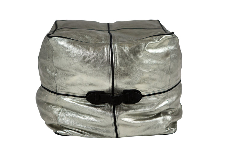 Metallic Cubism Black Pearl Leather Ottoman/Pouffe.