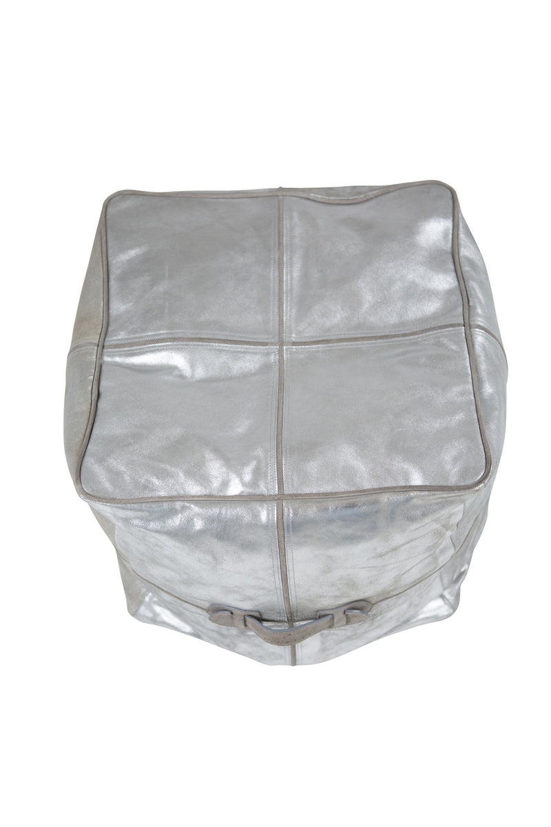 Metallic Cubism Platinum Leather Ottoman/Pouffe