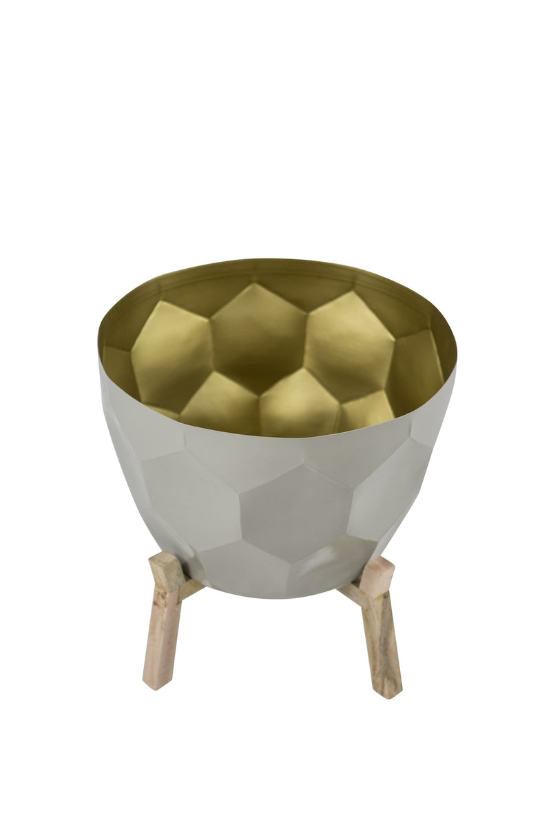 Bloom in  Gold Planter in Dove