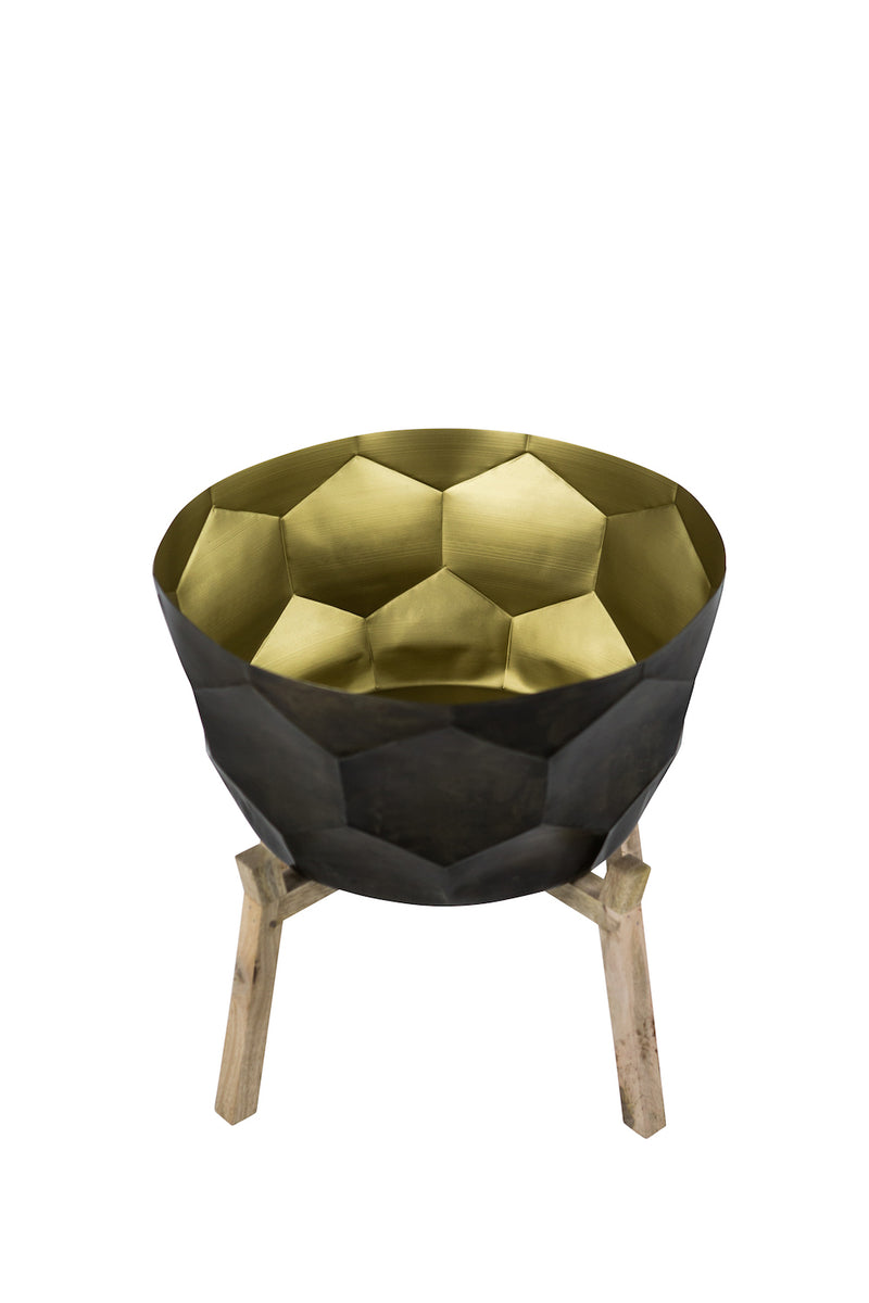Bloom in Gold Planter in Black