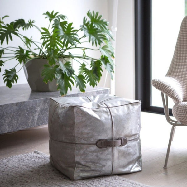 Metallic Cubism Platinum Leather Ottoman/Pouffe ONLY 1 LEFT IN STOCK!