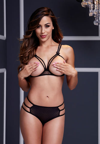 Strappy Open Cup Bra Set With Panty Lingerie- Divine Triixz