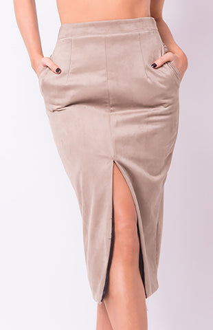 High Waist Slit Pencil Skirt - Divine Triixz