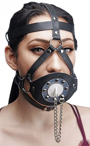 Plug Your Hole Open Leather Head Harness Mask- Divine Triixz