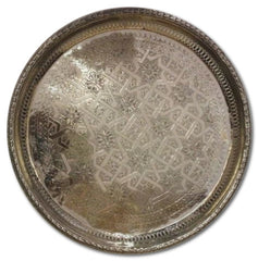 Moroccan Antique Silver Plated Brass Trays