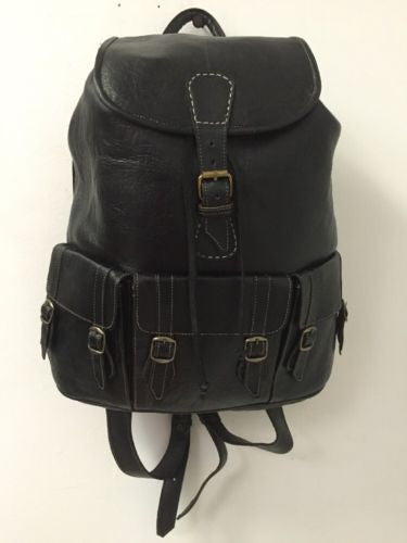 Handmade Genuine Leather Backpack Rugged Rustic Travel Bag in Black 3 Pockets XL