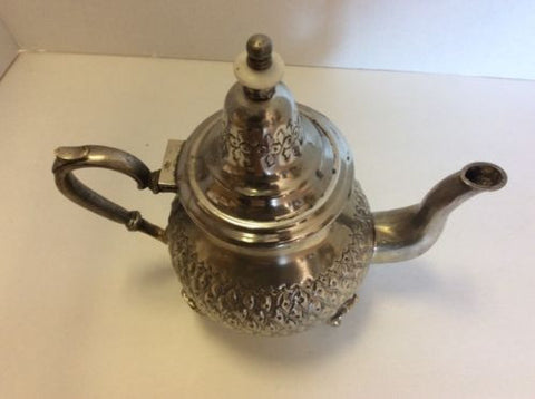 Antique Traditional Moroccan Silver Alloy Fes Argente Seal Large Teapot Fez