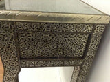 Moroccan Console Table Silver Carved & Etched Metal Arabesque Furniture 3 Drawer