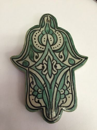 Moroccan Khamsa Hand Lucky Amulet Glazed Ceramic Mosaic Tile Hang Wall Green