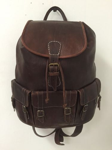 Handmade Genuine Leather Backpack Rugged Rustic Travel Bag in BROWN 3 Pockets XL
