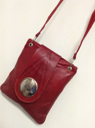 Moroccan Tribal Embossed Red Leather Bag Purse Crossbody Khamsa Medallion Bag
