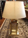 Moroccan End Table Lamp in Polished Silver Finish Carved Metal Shade