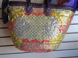 Morocco Handmade Tote Bag Shopping Bag Flower & Rhinestone Pattern Wicker Bag
