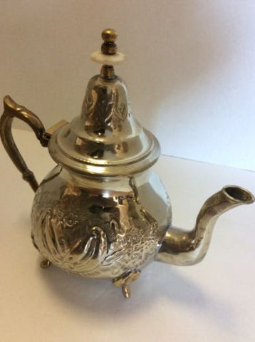 Antique Traditional Moroccan Silver Alloy Fes Argente Seal Large Teapot XL 3