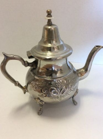 Antique Traditional Moroccan Silver Alloy Fes Argente Seal Large Teapot XL