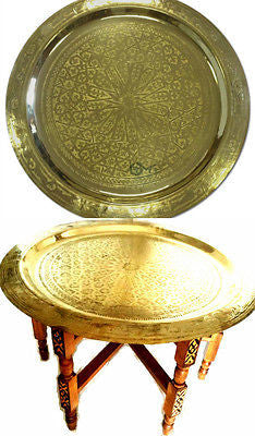 "Moroccan Arabesque Engraved Carved Polished Brass Tray Top Folding Table 31"" Ø"