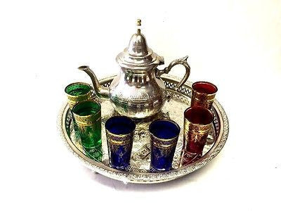 Traditional Moroccan Tea Serving Set Antique Teapot & Tea Glasses Silver Tray