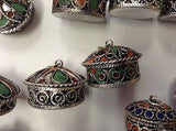 Moroccan Tribal Silver Alloy Round Lidded Pendant Pill Secret Compartment Box S