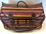 Moroccan Sabra Silk & Leather X- Large Handbags Luggage Suitcase color Stripes