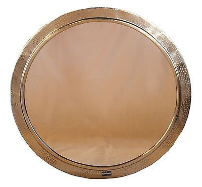 "Moroccan Round Wall Mirror Hammered Silver Finish Metal 26"" Dia. Frame"
