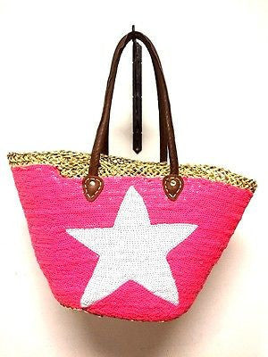 French Market Basket Pink Sparkling Sequin Star Leather Straw Tote Bag Handbag