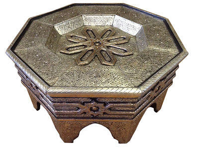 Moroccan Octagonal Center Table Engraved Metal Wood