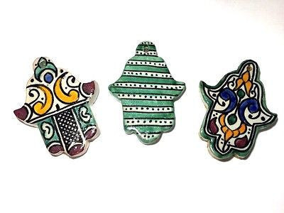 3 Moroccan Khamsa Hand Amulet Glazed Ceramic Mosaic Tile Hang Wall Multicolor