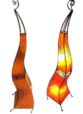 "Moroccan Orange & Black Henna Goat Leather Floor Lamp 60"" Wrought Iron Light"