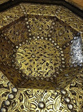 Moroccan Octagonal Table Golden Engraved Metal Arabic Design Furniture Glass Top