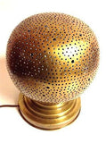 Moroccan Small Perforated Metal Brass Sphere Table Lamp Sphere Fes