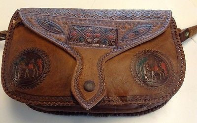 Moroccan Tribal  Brown & Colored Embossed Leather Crossbody Handbag
