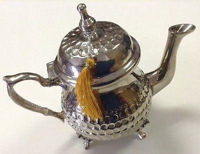 Traditional Moroccan hammered Silver Alloy Medium Teapot Tassel Serves 3 teacup