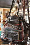 Moroccan Tribal Black Woven Color stripes Embossed in Leather Bag Hobo Handbag