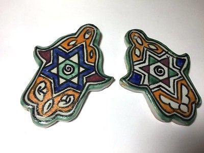 2 Moroccan Khamsa Hand Amulet Glazed Ceramic Mosaic Tile Hang Wall Star of David