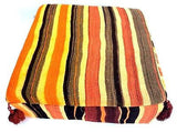 Moroccan Hand Woven Kilim Wool Square Ottoman Pouf Chair in Multicolor Stripes 2