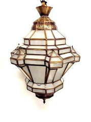 Moroccan Hanging Pendant Lantern Carved Brass & Frosted Glass Lamp Fixture