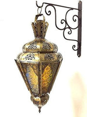 Moroccan Hanging Pendant Conical Lantern Carved Brass Finish Stained Glass Lamp