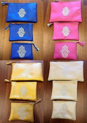 "Set of 3  Moroccan Cosmetic Bags Embroidered "" Lucky Hand ""  in Assorted Colors"