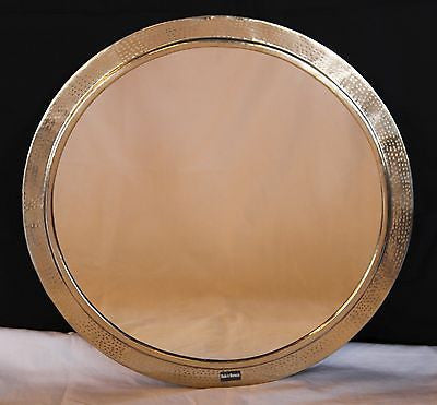 Moroccan Round Wall Mirror Hammered Silver Finish Metal 26