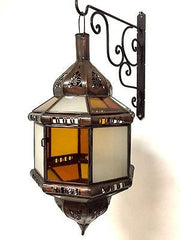Moroccan Hanging Pendant Lantern Carved Brass Finish Amber & Frosted Glass Lamp