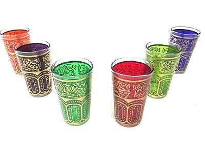 Moroccan 6 piece Tea Multicolor & Gold  Glasses Set Artisan Glass Cup Shot Wine